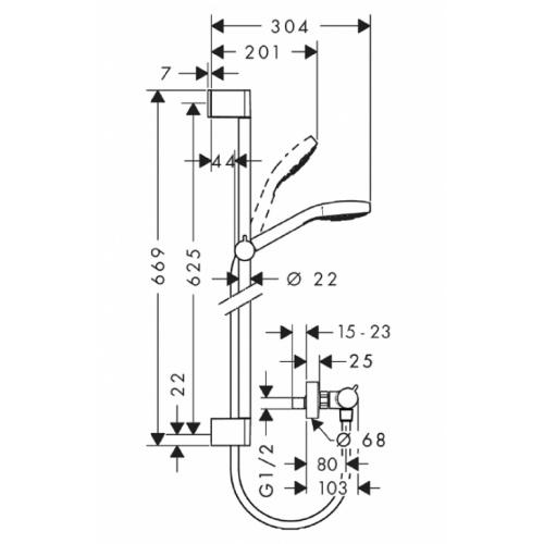 Combi Ecostat Croma Select S Vario Comfort 0.65m 27013400** Combi croma select s vario comfort côtes