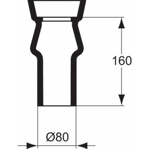 Tubulure pour pack WC Aspirambo à sortie verticale Porcher p286101