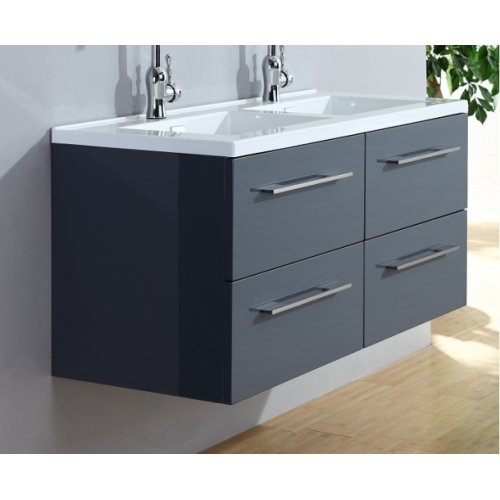 Meuble double vasque 117 Saturn 2.0 Gris Brillant miroir Lite 0 120 gris 5