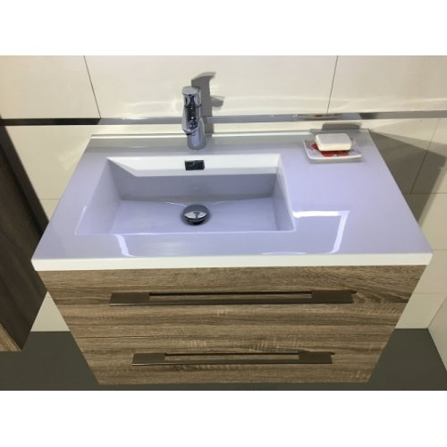Meuble simple vasque 80cm jupiter 2 0 bois fonc sans miroir - Meuble bois fonce ...