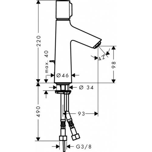 Mitigeur lavabo Talis Select S 100 - 72042000** Talis select s 100 mitigeur de lavabo 72042 plan tech