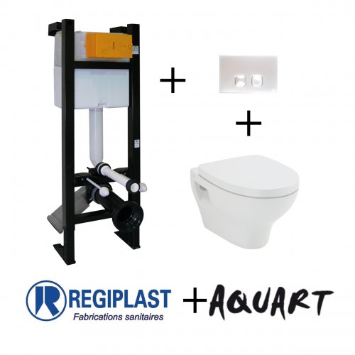 Pack WC Bâti-support Evo + Cuvette POP2 + Plaque Blanche