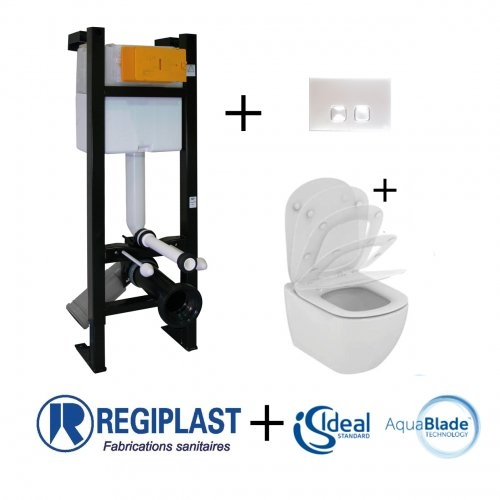 Pack WC Bâti-support Evo + Cuvette sans bride Tesi Aquablade + Plaque Blanche