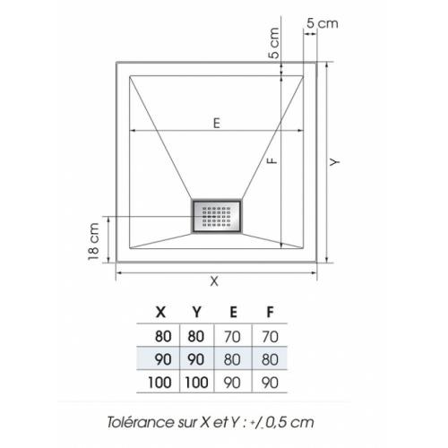 Receveur carré 80x80 Kinesurf Blanc Kinesurf carré