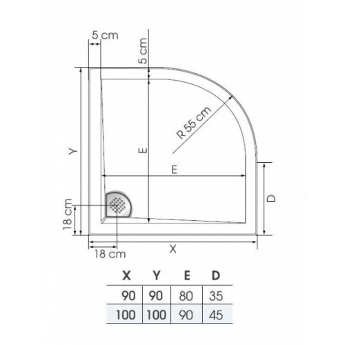 Receveur 1/4 rond Kinesurf Blanc extra-plat - 90x90 Receveur kinesurf plan 1 4 de rond