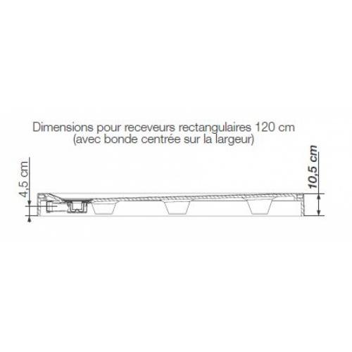 Receveur rectangle 70x120 en Biocryl Kinesurf Blanc LA Plan receveur rectangulaire bonde largeur 120