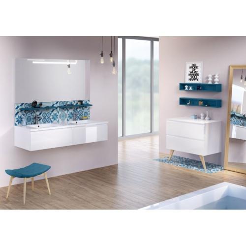 Meuble double-vasque VOGUE/LOFT 140 Boréale Blanc Brillant LOFT 140 Boréale Blanc