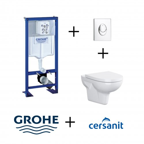 Pack WC Grohe Rapid SL + Cuvette sans bride VELVET + Plaque Chromée Pack wc grohe velvet chrome