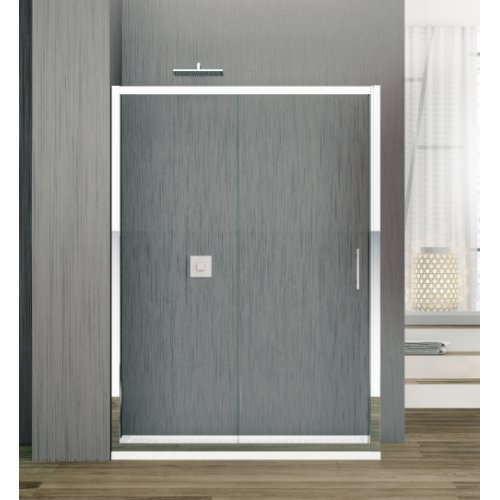 Porte coulissante Zephyros 2P 100 cm, verre transparent, profilés Silver
