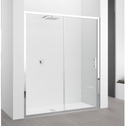 Porte coulissante Zephyros 2P 100 cm, verre transparent, profilés Silver Zephyros 2p transparent+chrome1