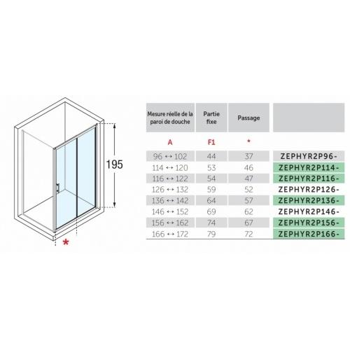 Porte coulissante Zephyros 2P 100 cm, verre transparent, profilés Silver Zephyros 2p plan