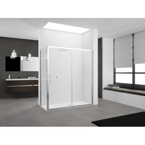 Porte coulissante Zephyros 2P 100 cm, verre transparent, profilés Silver Zephyros 2p+f