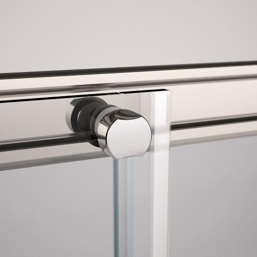 Porte coulissante Zephyros 2P 100 cm, verre transparent, profilés Silver Zephyros cuscinetto