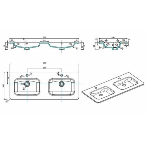 Meuble double vasque 120cm Toola Argile miroir lite Plan tech toola 120