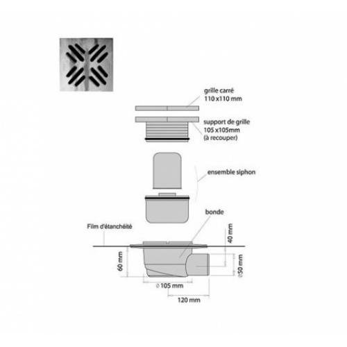 Receveur de douche Isotanche Chantier 150x180 - Bonde Horizontale* Isotanche chantier sh
