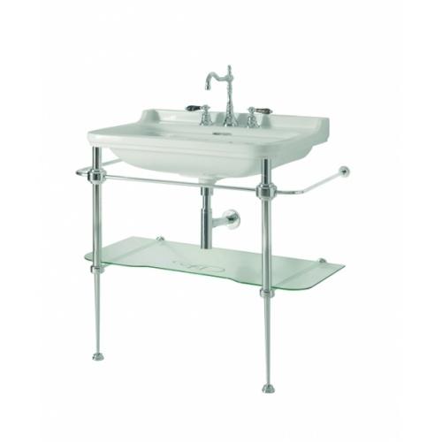 Ens. lavabo rétro 80 cm monotrou + piètement chromé WALDORF
