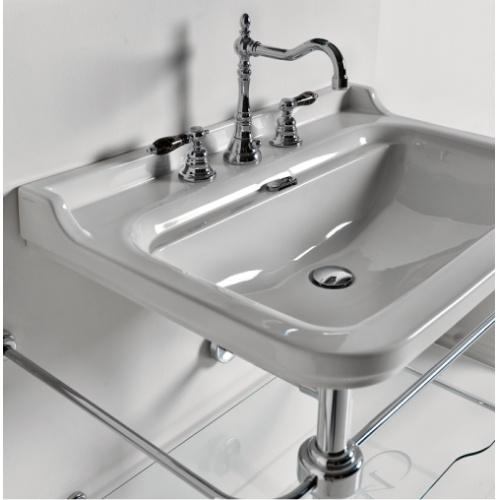 Ens. lavabo rétro 80 cm monotrou + piètement chromé WALDORF Wd10055 amb
