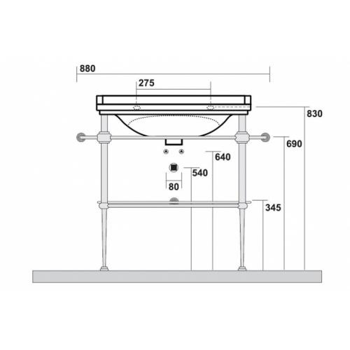 Ens. lavabo rétro 80 cm monotrou + piètement chromé WALDORF Côtes wd919751