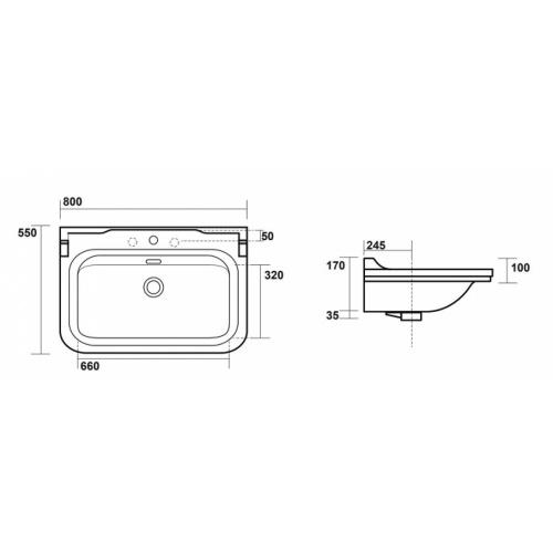 Ens. lavabo rétro 80 cm monotrou + piètement chromé WALDORF Côtes wd8055