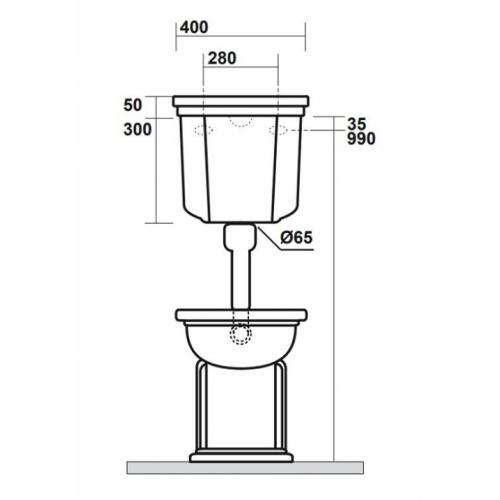 Bloc WC Rétro complet réservoir mi-haut WALDORF Cotes avant wd4116