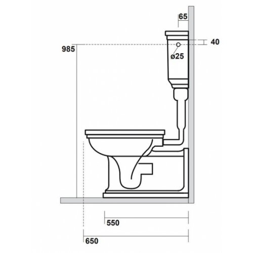 Bloc WC Rétro complet réservoir mi-haut WALDORF Côtes coté wd4116