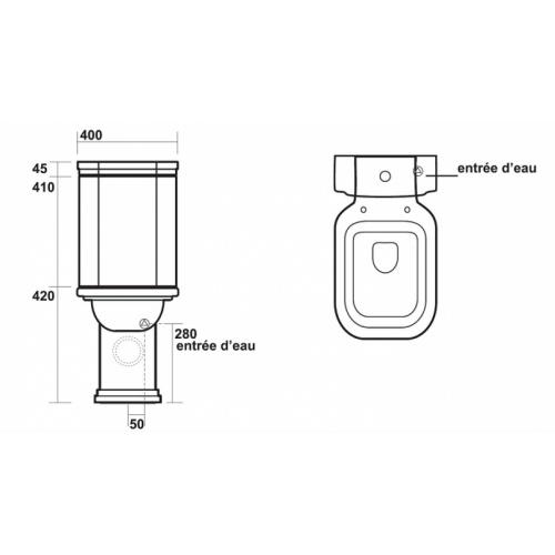 Bloc WC Rétro complet réservoir bas WALDORF - WD4117 Cotes wd4117
