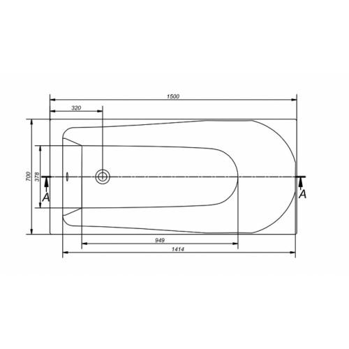 Baignoire rectangulaire 150x70 Flavia sans tablier Flavia technique 150