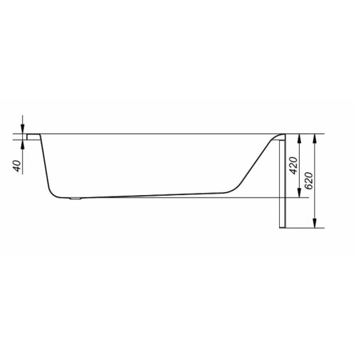 Baignoire rectangulaire 140x70 Flavia sans tablier Flavia 140 150 160 170 vue profil