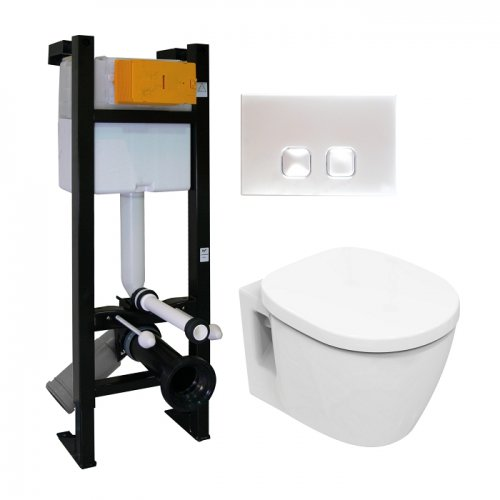 Pack WC Bâti-support Evo + Cuvette sans bride Connect + Plaque Blanche