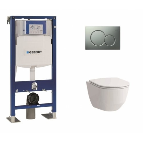 Pack WC Geberit UP320 + cuvette sans bride Rimless + plaque Sigma CHR mate