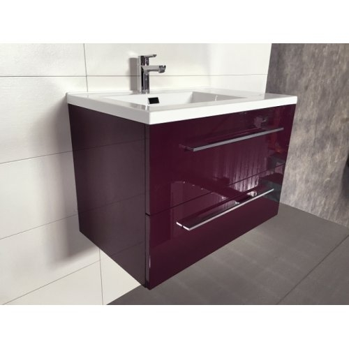 Meuble simple vasque 77 Saturn 2.0 Aubergine SANS miroir** Img 1953