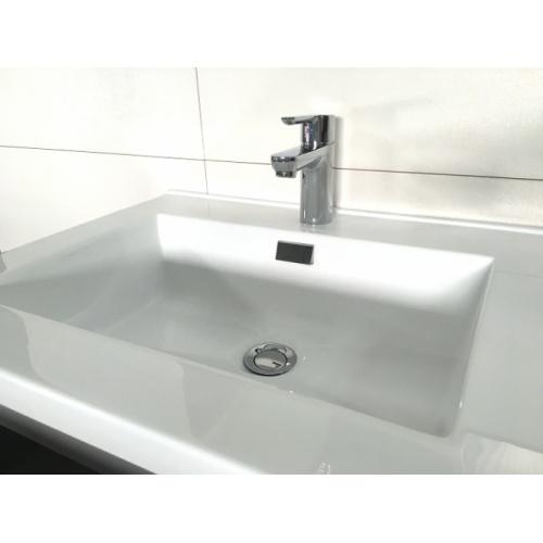 Meuble simple vasque 77 Saturn 2.0 Blanc Brillant SANS miroir Interieur vasque saturn 80