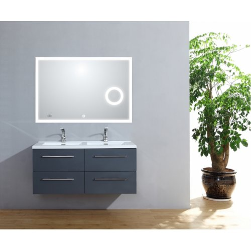 Meuble double vasque 117 Saturn 2.0 Gris Brillant miroir Lite