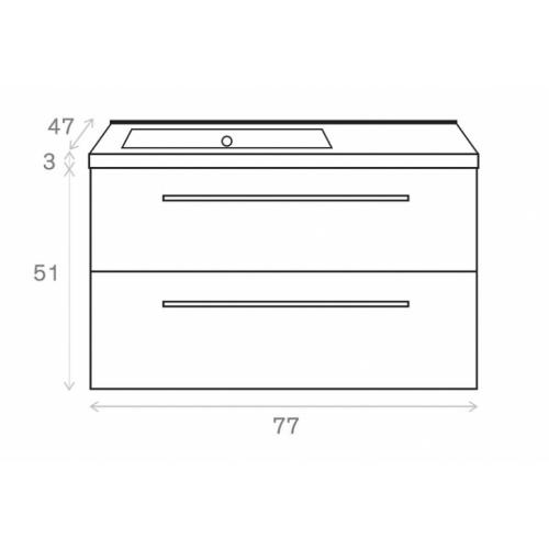Meuble simple vasque 77 Saturn 2.0 Gris Brillant sans miroir Côtes meuble 80