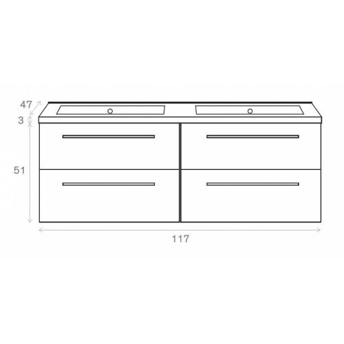 Meuble double vasque 117 Jupiter 2.0 Bois Foncé SANS miroir Côtes meuble 120