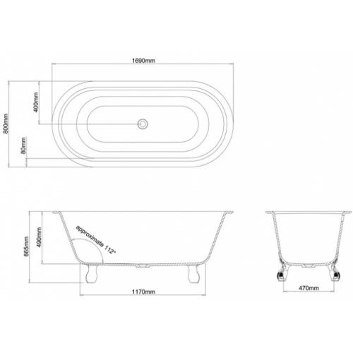 Baignoire à poser CLEARWATER Classico Grande - Pieds Noirs N9cs 2