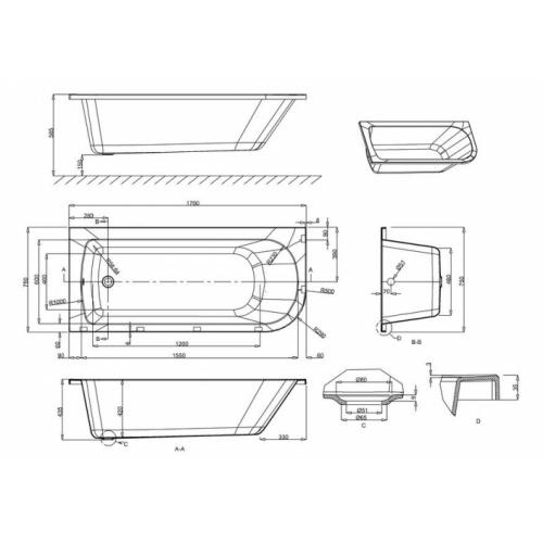 Baignoire d'angle VIRIDE Cleargreen 170 cm - Version Gauche Baignoire d'angle cleargreen viride côtes