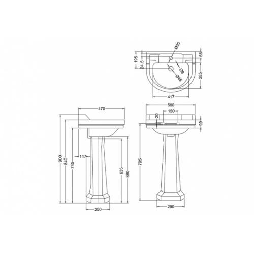 Vasque ronde et colonne standard Edouardien BURLINGTON Vasque ronde +colonne edouardien burlington côtes