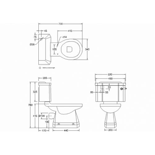 WC Compact BURLINGTON avec levier de réservoir en céramique 520 - Abattant frein de chute Chêne Wc compact levier p5+c1 burlington cotes