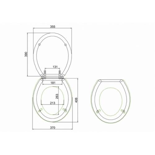 WC BURLINGTON avec levier de réservoir en céramique Taille basse 520 - Abattant frein de chute Acajou Abattant standard burlington s11 cotes