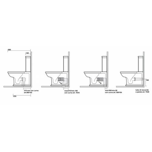 Bloc WC Rétro complet réservoir bas WALDORF - WD4117 Waldorf ondyna wd4117