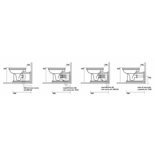 Bloc WC Rétro complet réservoir mi-haut WALDORF Wc waldorf wd4116