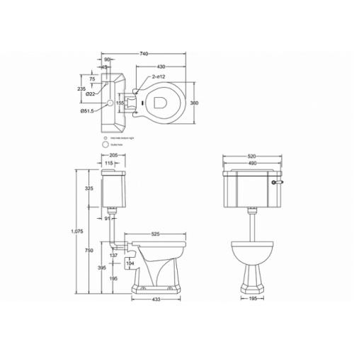 WC BURLINGTON avec levier de réservoir en céramique Taille basse 520 - Abattant frein de chute Chêne Wc taille basse levier p2+c1 burlington côtes