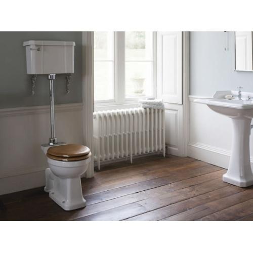 WC BURLINGTON avec levier de réservoir en céramique Taille moyenne 520 - Abattant frein de chute Chêne