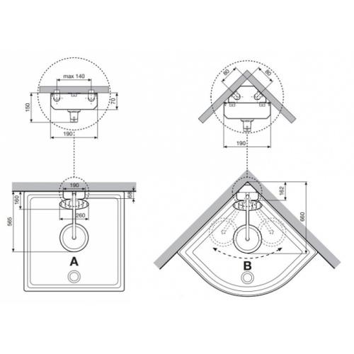 Colonne de douche THINK 2 pour douche - Mitigeur mécanique côtes2