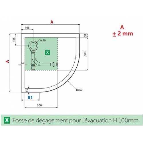 Receveur de douche 1/4 cercle New Victory 80 x 80 cm Blanc - Bord 4.5 cm 5 cm dessus