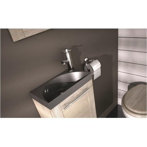 Lave-mains COVENTRY - Frêne Molina Plan de toilette solidsurface noir hello hd