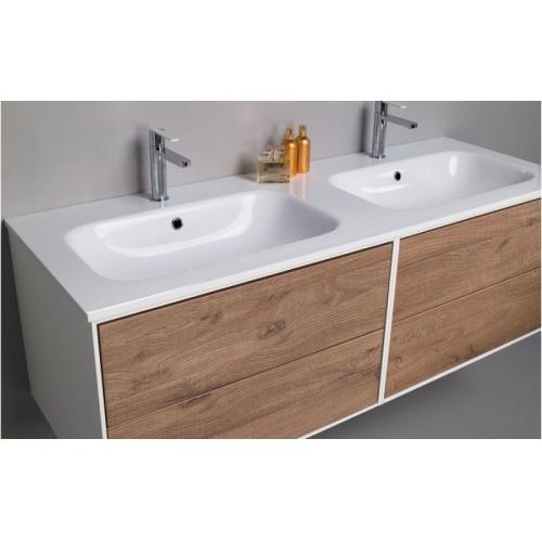 Meuble double vasque PARIGI 140 cm - Mélaminé Sherwood - Compo15 Parigi 140 cm mélaminé sherwood + lavabo in mineral marmo brillante cm 140