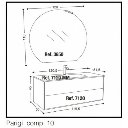 Meuble simple vasque PARIGI 121 cm - Tranche Grigio - Compo 10 10
