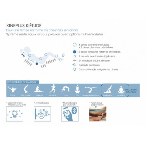Baignoire balnéo massage professionnel KINEPLUS Kiétude 180x80 cm - Tête à Gauche Kineplus Kiétude Programme Massant